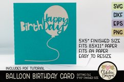 Happy Birthday Card SVG - Balloon Birthday Card Cutting File Product Image 2