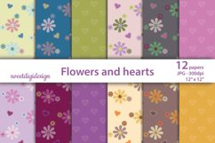 Flowers and hearts digital background Product Image 1