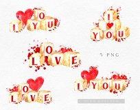 Watercolor valentine clipart, Cute valentine's cards DIY Product Image 6