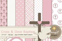 Girl Baptism Digital Papers, Cross Dove Clipart, Product Image 1