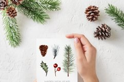 Watercolor Christmas greenery clipart, Winter collection Product Image 4