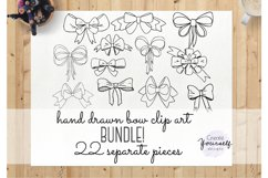 Handdrawn bow clipart set - doodle ribbon clipart Product Image 1