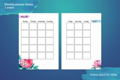 Undated printable planner sheets with watercolor flower A5 Product Image 2