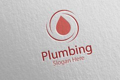 Plumbing Logo with Water and Fix Home Concept 41 Product Image 4