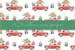 Christmas cars digital paper, seamless pattern Product Image 4