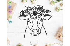 Cow With Crown SVG, Cow Flowers SVG, Cow face SVG Product Image 1