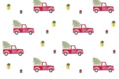 Farm fresh christmas trees digital paper Red old car pattern Product Image 2