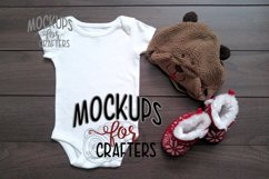 White one-piece baby outfit, onesie / bodysuit MOCK-UP Product Image 1
