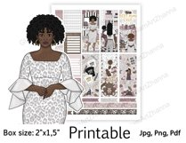 """African American Mom Boss Printable Sticker Box Size 2""""x1,5"""" Product Image 4"""