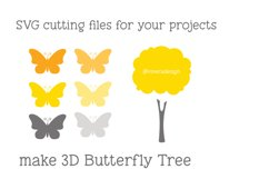 Butterfly Tree PNG SVG in Yellow and Grey Product Image 2