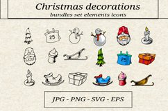 bundles set elements of the christmas icon Product Image 1