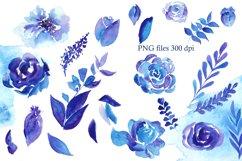 Blue Watercolor Flowers Clipart, Winter Floral Clip Art Product Image 4
