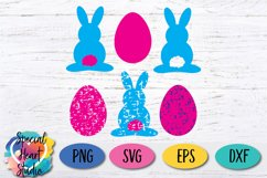 Bunny and Eggs - Easter Shapes in solid and grunge SVG Product Image 1