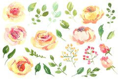 Yellow pink watercolour roses PNG set Product Image 2