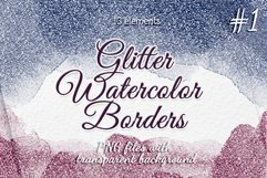Glitter borders clipart Frames Watercolor borders Product Image 1