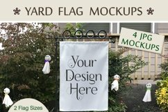 Yard Flag Mockups for Halloween, White & Burlap Flag Mock-Up Product Image 6