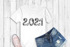 2021 Typography design. Happy New Year. Zentangle SVG PNG Product Image 2