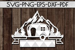 Camping Sign Papercut Templates Bundle, Adventure SVG, DXF Product Image 5