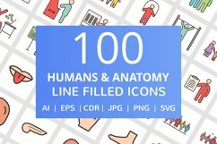 100 Humans & Anatomy Filled Line Icons Product Image 1