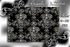 Seamless Damask Wallpaper. Black and white digital paper. Product Image 1