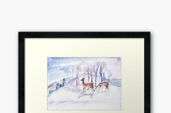 Watercolor illustration. Two roe deers in the winter forest Product Image 3