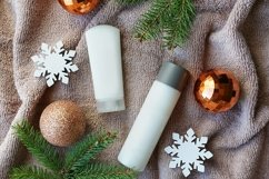 christmas cosmetic products on towel, flat lay. Winter care Product Image 1