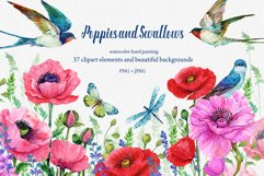 Red Poppies, flowers Clipart, Bird, Butterfly, Product Image 1