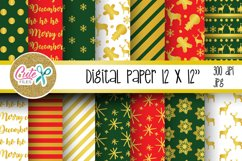 Christmas red and green digital paper for scrapbooking Product Image 1