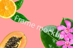 Mockup template tropical green leaves flowers papaya on pink Product Image 1