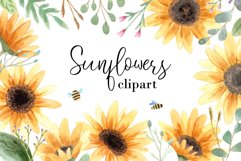 Watercolor Sunflowers Clipart Product Image 1