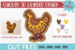 Chicken Mandala 3D Layered Design Product Image 1