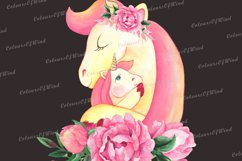 Watercolor Unicorn Head with Flowers PNG Sublimation Clipart Product Image 4