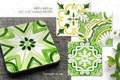 Spring Tiles Green Watercolor Clipart Set1 Product Image 3