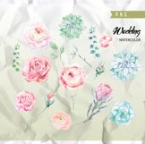 Wedding Watercolor Flowers, Protea, Ranunculus, English Rose Product Image 3