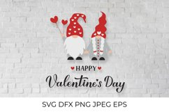 Happy Valentines Day SVG. Cute gnomes SVG. Funny Valentine Product Image 1