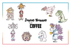 Coffee Clipart, Sublimation, Zombie, Mombie, PNG, Unicorn Product Image 2