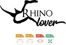 Rhinoceros, Rhino lover svg, Rhinoceros, rinoceronte, amante a los rinocerontes eps, cutting machine Product Image 2