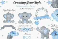 Watercolor Blue Gray Boy Elephant Bundle 23 PNGs files Product Image 2