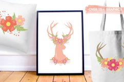 Antlers, deers and flowers Graphics and illustrations, vecto Product Image 3