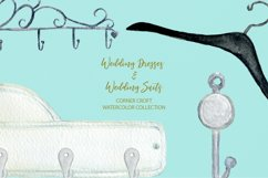 Watercolor wedding outfit on hangers and cloth hooks Product Image 8