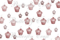Cupcake Digital Papers, Tea Time Papers, Muffins digital Product Image 5