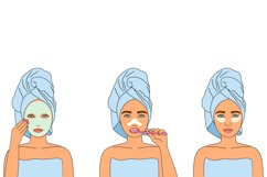 Cosmetics bundle clipart, make up and skincare eps, png. Product Image 4