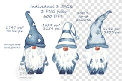Watercolor Scandinavian navy blue gnome clipart Product Image 6