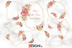 Gold Glitter frame Clipart, Christmas Floral Frame clip art Product Image 2