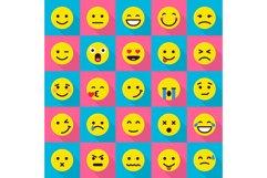 Smile emoticons icons set, flat style Product Image 1
