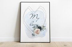 Watercolor Clipart Wedding Geometric frames Heart flowers Product Image 7