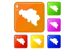 Germany map icons set vector color Product Image 1