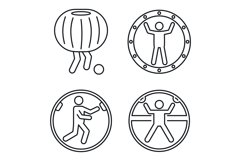Zorb ball activity icons set, outline style Product Image 1