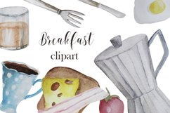 Watercolor breakfast clipart Product Image 1