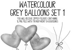 Grey Watercolor Balloon Clipart Set Product Image 5